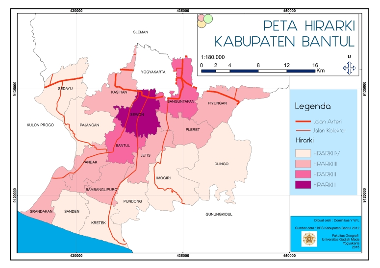 Peta hirarki kabupaten bantul