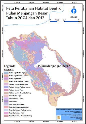 Peta Perubahan Habitat Bentik Pulau Menjangan Besar Tahun 2004 dan 2012